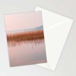 Sunset lake landscape, pink lake view on bullrushes with reflection Stationery Cards