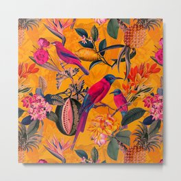 Vintage And Shabby Chic - Colorful Summer Botanical Jungle Garden Metal Print