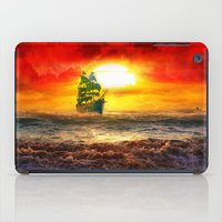 pirate ship iPad Cases featuring Black Pearl Pirate Ship by Electra
