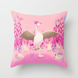 Mommy goose and her little goslings Throw Pillow