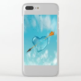 Stabbed water drop heart Clear iPhone Case