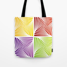 Colorful Squares twirling from the Center. Optical Illusion of PerspectiveColorful Squares twirling Tote Bag
