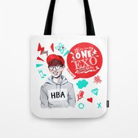 exo Tote Bags featuring EXO WE ARE ONE! Chanyeol Version by Haneul Home