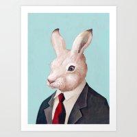 rabbit Art Prints featuring Rabbit by Animal Crew