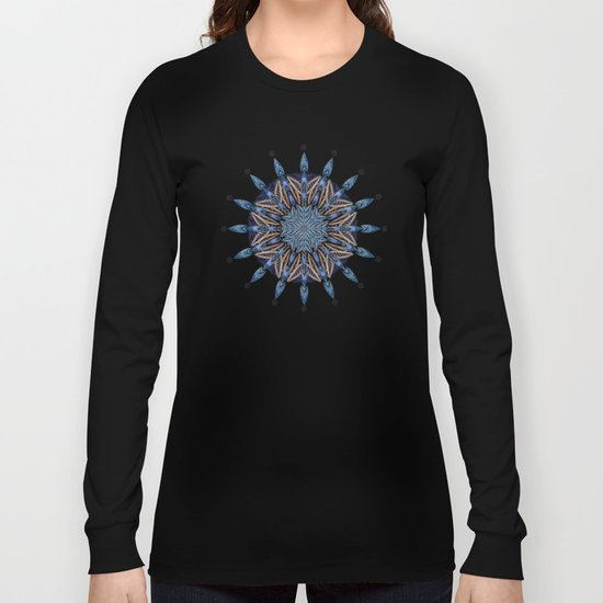 Sphinx Moth Pattern In Blue Long Sleeve T-shirt