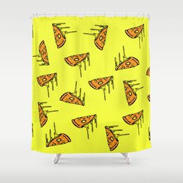 Pepperoni Pizza Dripping Cheese by the Slice Pattern (yellow) Shower Curtain