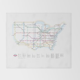 Interstate Highways as a Subway Map Throw Blanket