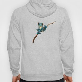 Cute Blue Tree Frog on a Branch Hoody