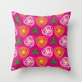 Bright pink floral Throw Pillow