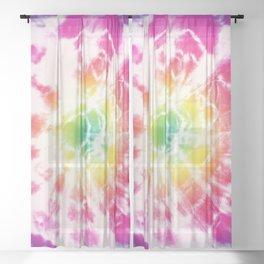 Tie-Dye Sunburst Rainbow Sheer Curtain
