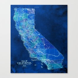 California, blue old vintage map, original art for office decor Canvas Print