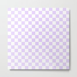 Large Chalky Pale Lilac Pastel Color and White Checkerboard Metal Print