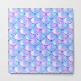 Violet Pink Mermaid Pattern, Holographic Fish Scale Print Metal Print