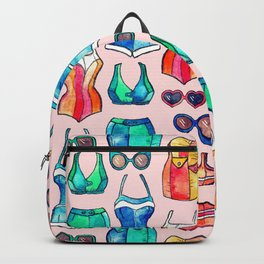 Sixties Swimsuits and Sunnies on blush pink Backpack