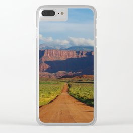 Road Home - Mountains and Desert, Moab Utah Clear iPhone Case