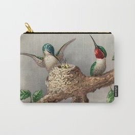 Hummingbirds & Chicks Nesting portrait nature painting Carry-All Pouch