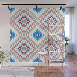 Colorful patchwork mosaic oriental kilim rug with traditional folk geometric ornament Wall Mural