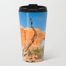 Sculptural dormant tree in front of North Window with moon rising. Travel Mug