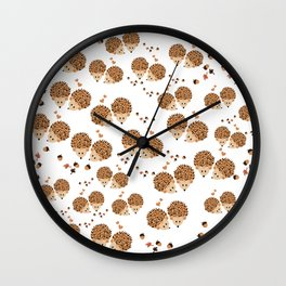 Hedgehogs in autumn Wall Clock