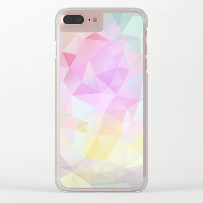 Abstract print of triangles, polygon in pastel colors Clear iPhone Case