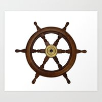 old oak steering wheel for ship or boat Art Print