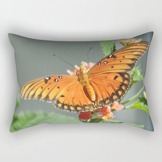 Gulf Fritillary on Lantana Rectangular Pillow