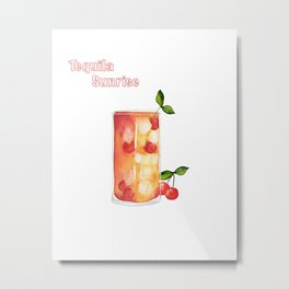Tequila Sunrise - text Metal Print