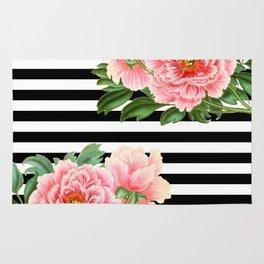 Pink Peonies Black Stripes Rug