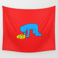 alcohol Wall Tapestries featuring Keith Haring style - Too much alcohol - Funny Illustration Pop Art by Estef Azevedo