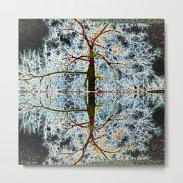 Electric Tree Double Reflection Metal Print