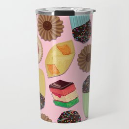 Assorted Cookies on Pink Background Travel Mug