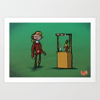 monkey island Art Prints featuring #34 - Escape from Monkey Island by Jón Kristján Kristinsson