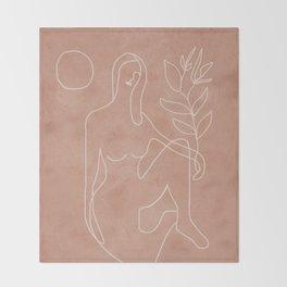 Engraved Nude Line II Throw Blanket