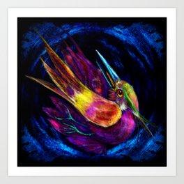 Kingfisher falling La caida del Martin Pescador Art Print