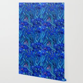 Van Gogh Irises in Indigo Wallpaper