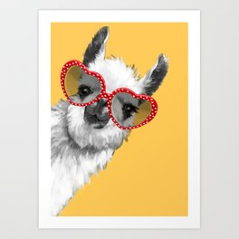 Fashion Hipster Llama with Glasses Art Print
