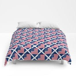 Mix of flag: usa and scotland Comforters