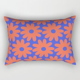 Crayon Flowers 3 Cheerful Smudgy Floral Pattern in Coral and Bright Blue Rectangular Pillow