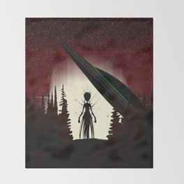 Aliens in the Forest Throw Blanket