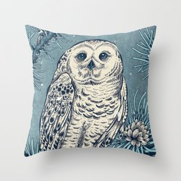 Winter Snowy Owl Throw Pillow