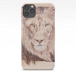 Lion Portrait - Drawing by Burning on Wood - Pyrography Art iPhone Case