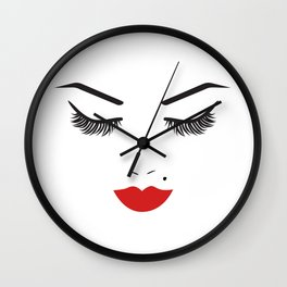 Beauty Face with Red Lips Wall Clock