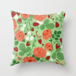 Roses and strawberries on green Throw Pillow