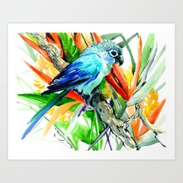 Tropics, Amazon JUngle Parrot and Tropical Foliage Jungle floral design Art Print