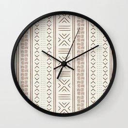 rust on bone mud cloth Wall Clock