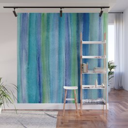 Blue and Green Watercolor Stripes - Underwater Reeds / Abstract Wall Mural