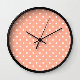Bright Peach with White Polka Dots Wall Clock