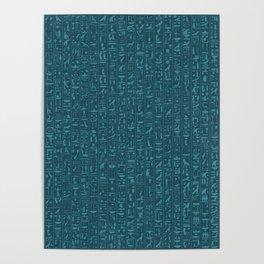 Hieroglyphics Moonstone BLUE / Ancient Egyptian hieroglyphics pattern Poster