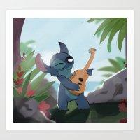 lilo and stitch Art Prints featuring Stitch (Lilo & Stitch) by Bana Sakhnini