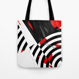 black and white meets red Version 8 Tote Bag